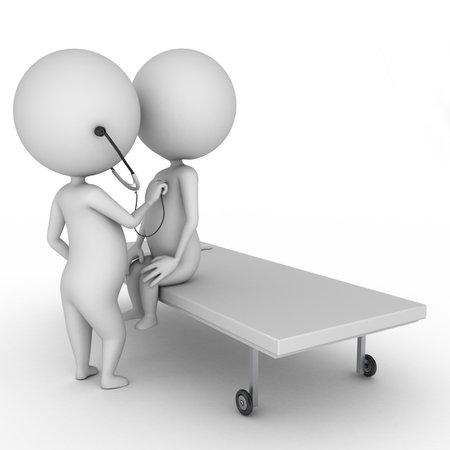 Pacjent: 3d ilustracją mały lekarz