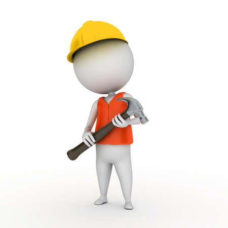 3d rendered illustration of a little worker guy Stock Illustration - 11023375