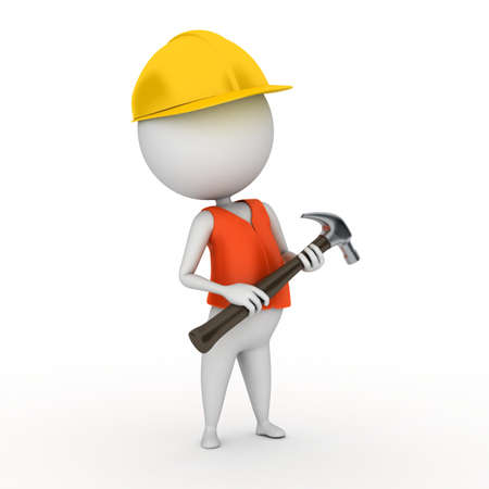 worker cartoon: 3d rendered illustration of a little worker guy Stock Photo