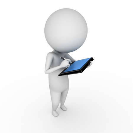 3d rendered illustration of a little guy with a tablet pc