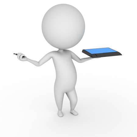 3d human: 3d rendered illustration of a little guy with a tablet pc