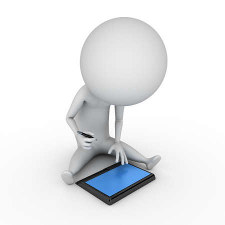 humourous: 3d rendered illustration of a little guy with a tablet pc