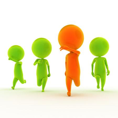 follow the leader: 3d teruggegeven illustratie van een aantal jongens lopen