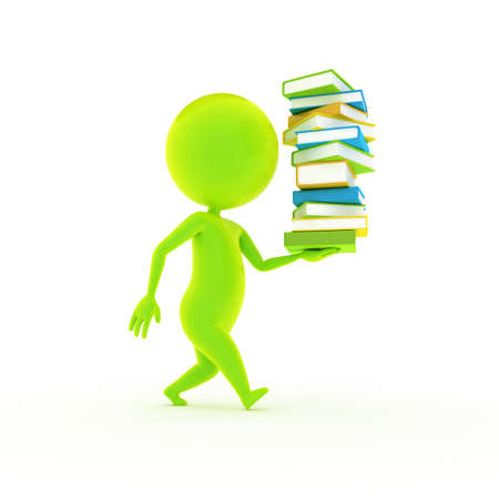 uni: 3d rendered illustration of a little green guy and a staple of books