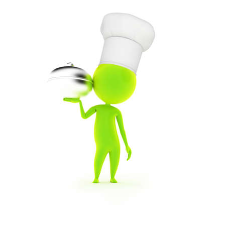 hints: 3d rendered illustration of a little guy with a chef hat