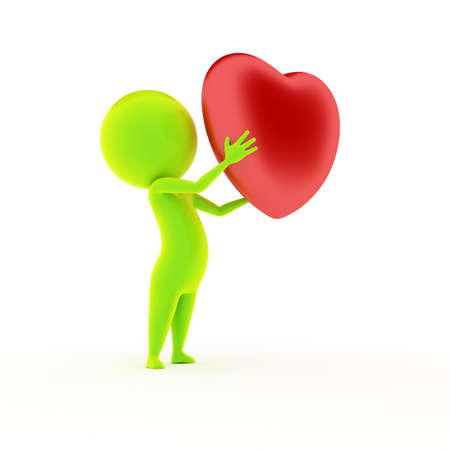 3d rendered illustration of a little green guy holding a heart illustration