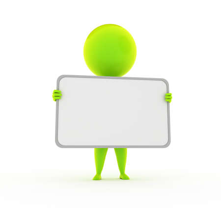 hand holding paper: 3d rendered illustration of a little green guy and a blank sign Stock Photo