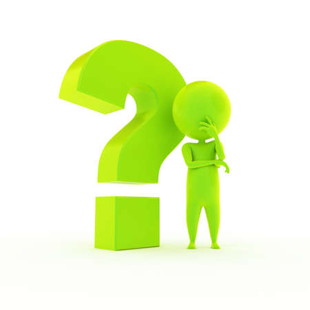 questionmark: 3d rendered illustration of a little green guy with a question mark