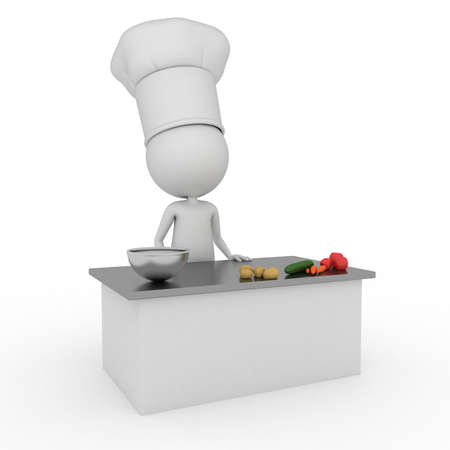 3d rendered illustration of a little chef