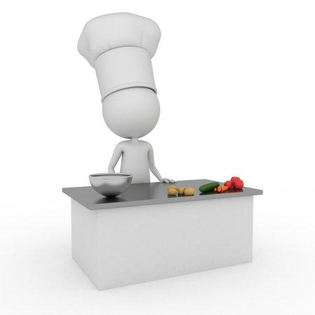 3d teruggegeven illustratie van een kleine chef-kok
