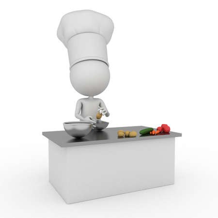 3d rendered illustration of a little chef illustration