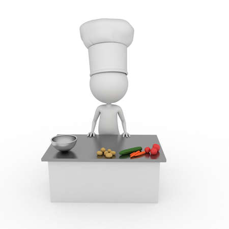 men bars: 3d rendered illustration of a little chef