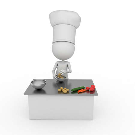 eat cartoon: 3d rendered illustration of a little chef