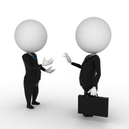 talk to the hand: 3d rendered illustration of two business guys