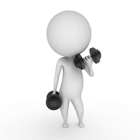 exercise cartoon: 3d rendered illustration of a guy with weights