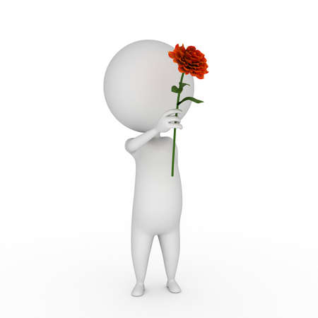 3d rendered illustration of a little guy with a flower illustration