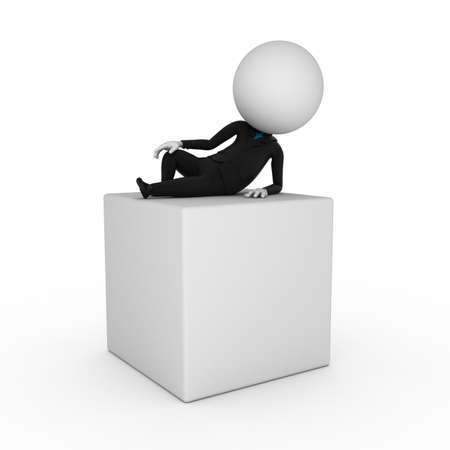 3d rendered illustration of a business guy lying on a blank box illustration