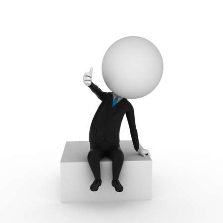 3d rendered illustration of a business guy sitting on a blank box illustration