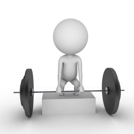 r�sistance: 3d illustration rendu d'un gars avec des poids