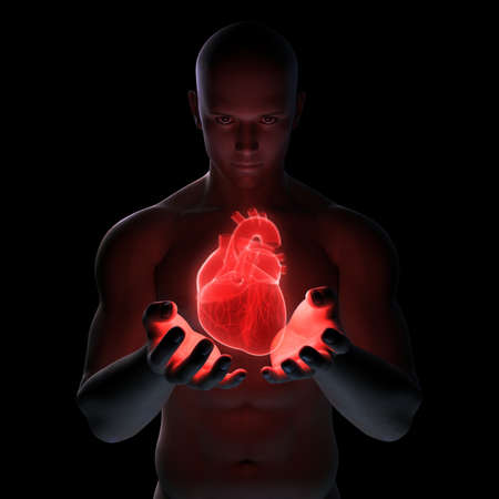 hand beats: man holding heart