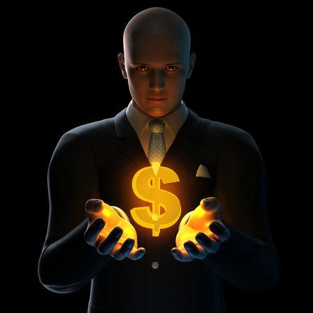 buying stock: businessman - dollar sign