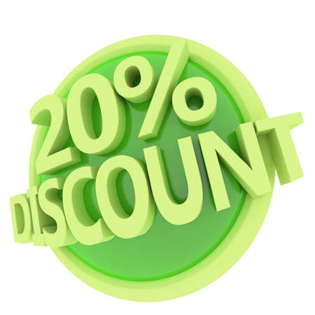 3d rendered, green 20 percent discount button 版權商用圖片