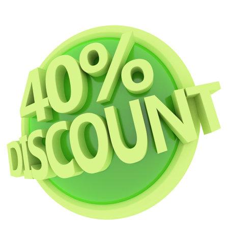3d rendered, green 40 percent discount button
