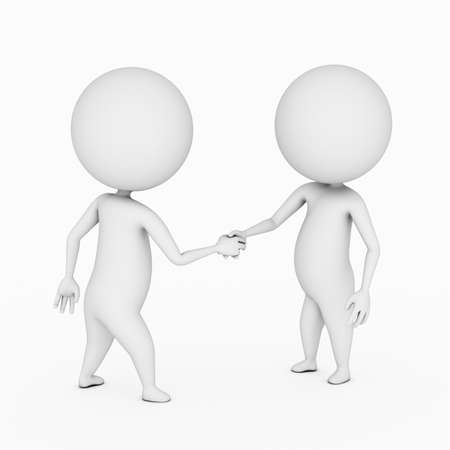 a 3d rendered illustration of two small guys shaking hands illustration