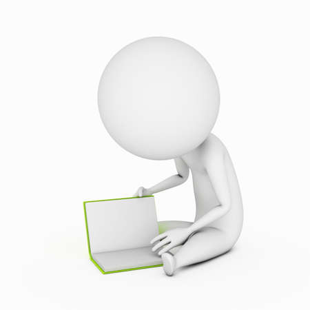 a 3d rendered illustration of a small guy who is reading a book illustration
