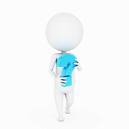 a 3d rendered illustration of a small guy with a question mark illustration
