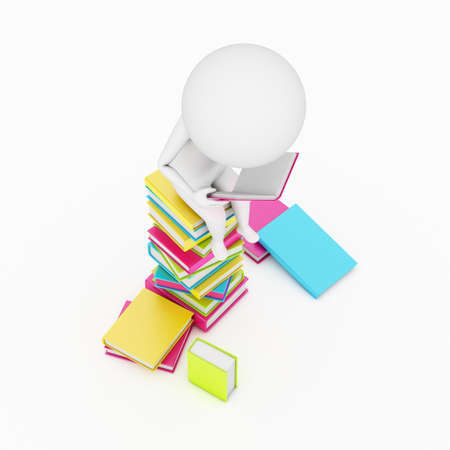 3d rendered little guy sitting on a staple of books photo
