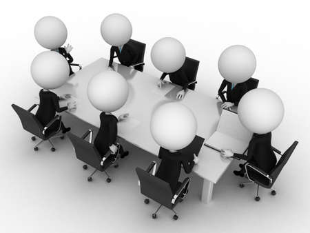 little business man: 3d rendering of a group of little guys - conference table Stock Photo