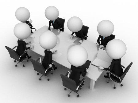 petit homme: Rendu 3D d'un groupe de petits gars - table de conf�rence