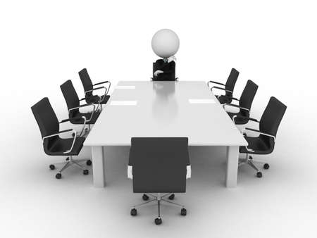 ceo: 3d rendered conference table with a single character