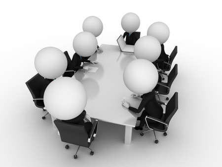 little table: 3d rendering of a group of little guys - conference table Stock Photo