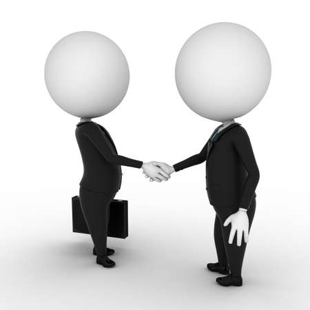 handclasp: two 3d rendered white characters shaking hands