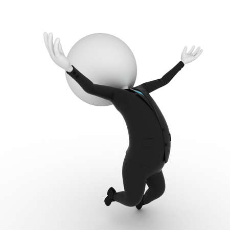 gray suit: a 3d rendered illustration of a small guy jumping Stock Photo