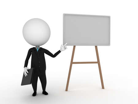 man presenting: a 3d rendered illustration of a small guy - presentation