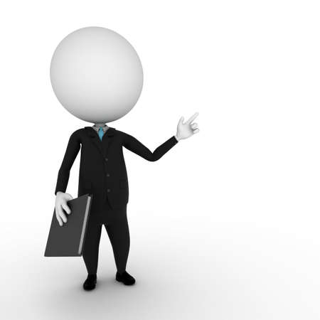man presenting: a 3d rendered illustration of a small guy in a business suit