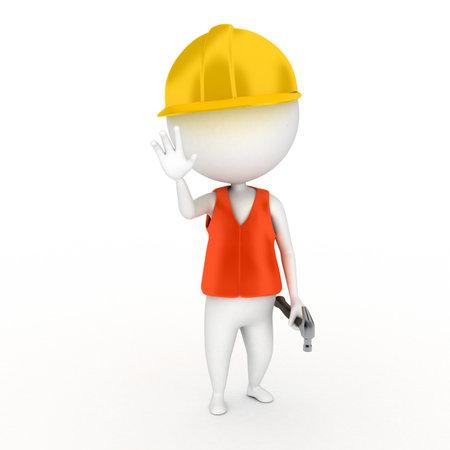 safety vest: a 3d renderend illustration of a little construction guy