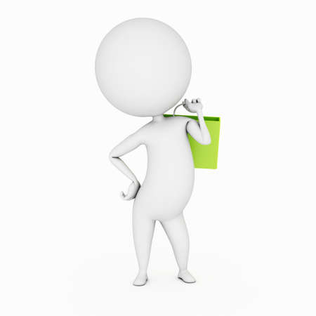 a 3d rendered illustration of a small guy and a shopping bag illustration