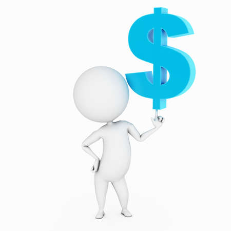 a 3d rendered illustration of a small guy and a dollar sign Stock Illustration - 11023641