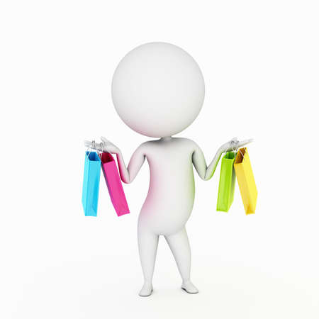 3d human: a 3d rendered little guy with shopping bags Stock Photo