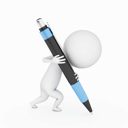 a 3d rendered little guy writing with a big pen Stock Photo