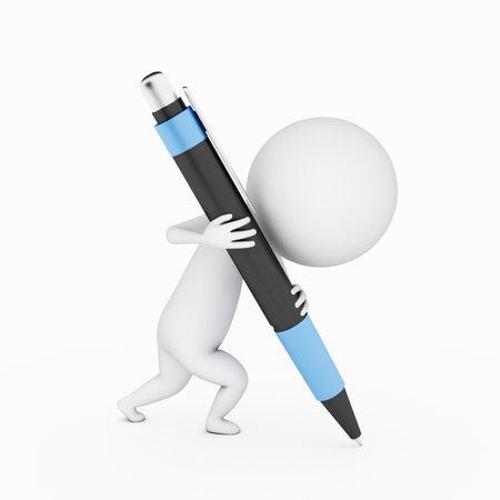 ein 3D-gerenderten kleinen Kerl schriftlich mit einem großen Stift