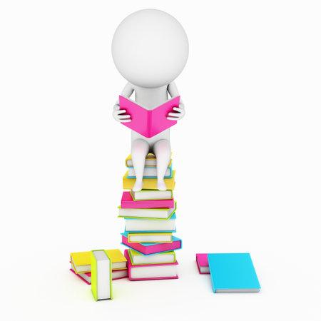petit bonhomme: une illustration 3d rendu d'un petit gars qui lit un livre Banque d'images
