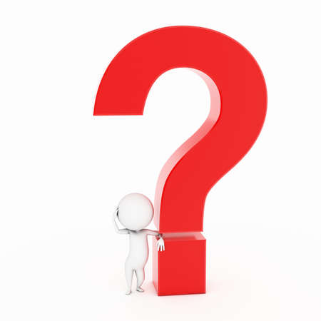 a 3d rendered illustration of a small guy and a question mark illustration