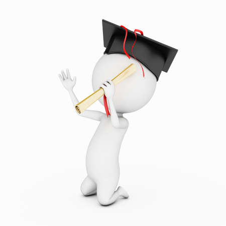 3d rendered little guy with graduation hat photo