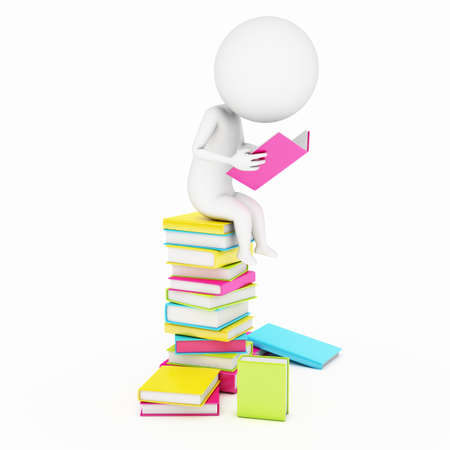 knowledge clipart: 3d rendered little guy sitting on a staple of books Stock Photo