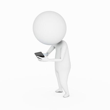 telefono caricatura: 3d rindi� la ilustraci�n de un hombre peque�o y su tel�fono Foto de archivo